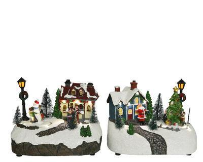 LED dekorace SCENÉRIE, 18,5x13x13,5cm, sněhulák/ santa, Kaemingk