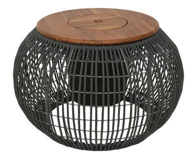 Přídavný stolek SEVILLE s víkem, 37x58cm, tmavě šedý, venkovní, Kaemingk