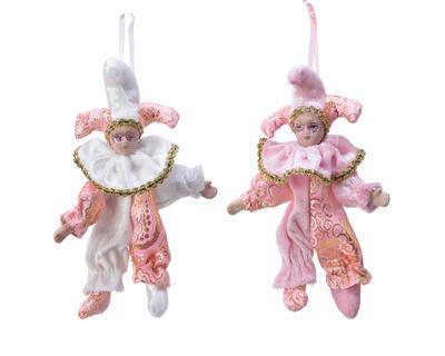 Vánoční ozdoba HARLEKÝN, 16cm, bílo, růžový/ růžový, Kaemingk