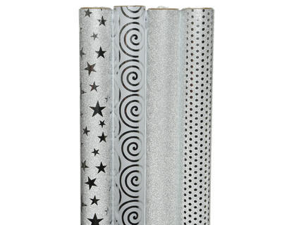 Balící papír DELUXE, 70x150 cm, hvězdičky/ puntíky/ třpytky/ spirály, Kaemingk
