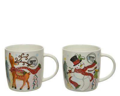 Hrneček v dárkovém balení, 12x9x9cm, porcelán, sněhulák/ jelen, Kaemingk