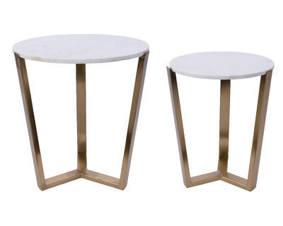SET dekorativních stolků, cca 46x52cm, cca 42cm, bílá/zlatá, Kaemingk