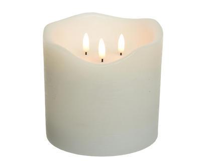 LED povoskovaná svíčka se třemi knoty, bílá, 15x15cm, Kaemingk