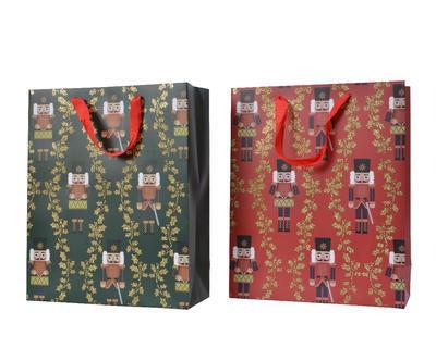 Dárková taška LOUSKÁČEK, 16x42x48cm, zelená/ červená, Kaemingk