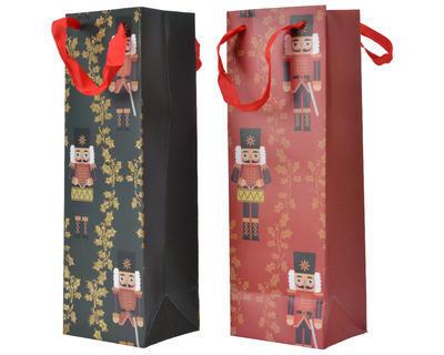 Dárková taška LOUSKÁČEK, 10x12x36cm, zelená/ červená, Kaemingk