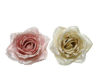 Růže na klipu, 11cm, růžová/ perleťová, Kaemingk