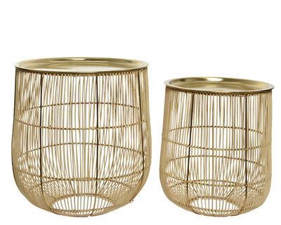 SET dekorativních ratanových stolů, cca 38x39cm, cca 30x35cm, přírodní/zlatá, Kaemingk