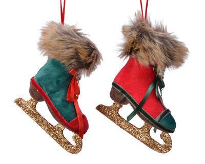 Vánoční ozdoba BRUSLE, 12cm, zelená/ červená, Kaemingk