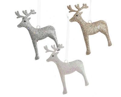 Vánoční ozdoba - Jelen s glitry 12 cm - zlatá/bílá/stříbrná, Kaemingk