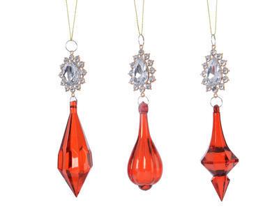 Vánoční ozdoba - Kapka Glamour s kamínkem 16 cm - červená, Kaemingk