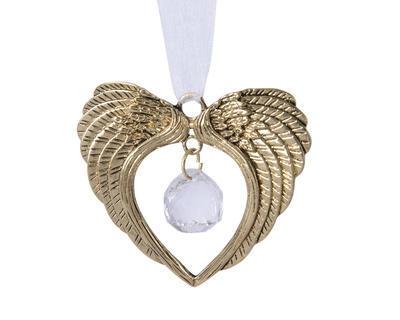 Vánoční ozdoba - Andělská křídla s korálkem 7x6 cm - zlatá, Kaemingk