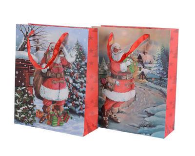 Vánoční taška dárková - SANTA - 8x24x18 cm, Kaemingk