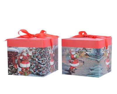Vánoční krabice dárková - SANTA - 20x20x18 cm, Kaemingk