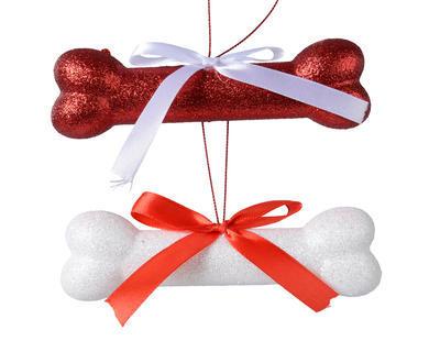 Vánoční ozdoba - Kost s mašlí 14 cm - červená/bílá, Kaemingk