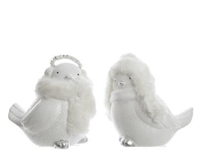 Vánoční dekorace - Ptáček s čepicí bílý,  Kaemingk