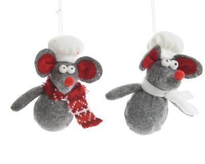 Vánoční ozdoba - Myš kuchař 12 cm, Kaemingk