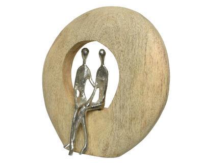 Dekorace LOVE, 8,5x24,5x26cm, přírodní/stříbrná, Kaemingk