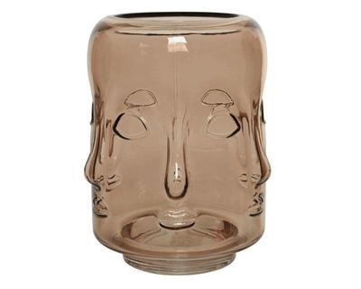 Váza FACE, 16x16x18cm, světle hnědá, sklo, Kaemingk