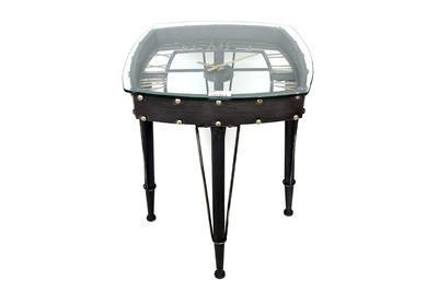 Stolek odkládací GLASS TABLE CLOCK 61x53 cm, Sifcon