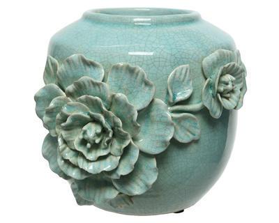 Váza FLOWERS 21x19,5x21 cm - mátová, Kaemingk