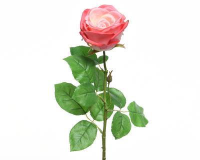 Květina RŮŽE KVĚT XL 68 cm - koral. růžová, Kaemingk