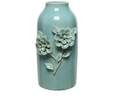 Váza FLOWERS 15x13x30 cm - mátová, Kaemingk