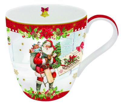 Vánoční hrnek VINTAGE SANTA RED 350 ml, Easy Life - 1