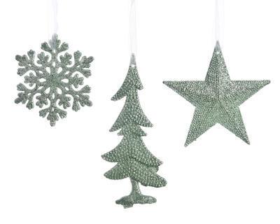 Vánoční ozdoba - Vločka/Stromek/Hvězda - pistáciová, Kaemingk