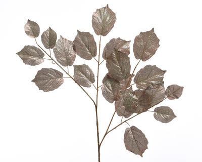 Vánoční dekorace - Větev s listy s glitry 70 cm - hnědá, Kaemingk