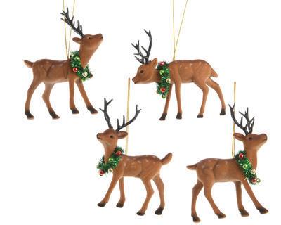 Vánoční ozdoba - Sob s věncem 10x12,5cm, Kaemingk
