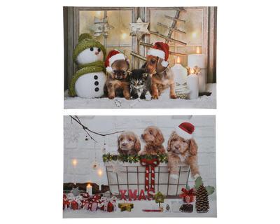 Vánoční obraz LED - Štěňata / sněhulák 40x60 cm, Kaemingk