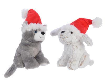 Vánoční dekorace - Hračka Pejsek/Kočička s čepicí 20 cm, Kaemingk
