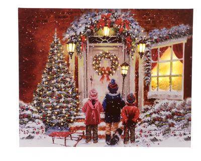 Vánoční obraz LED - Koledníci 40x50 cm, Kaemingk