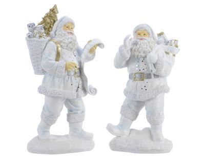 Vánoční dekorace - Santa s nůší - bílý, Kaemingk