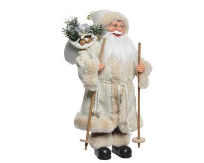 Vánoční dekorace - Santa s hůlkami v dlouhém kabátu 24x14x45 cm - bílý, Kaemingk