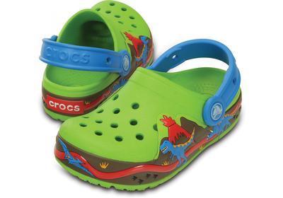 Boty CROCSLIGHTS DINOSAUR CLOG C10 volt green/ocean, Crocs - 1