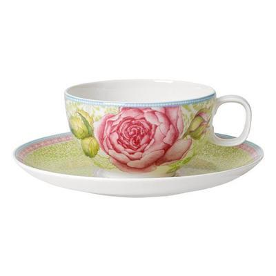 Šálek na čaj s podšálkem - zelený ROSE COTTAGE 370 ml, Villeroy & Boch