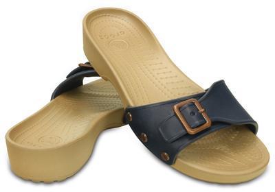 Pantofle SARAH SANDAL W11 navy/gold, Crocs - 1