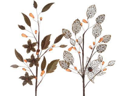 Vánoční dekorace - větvička s květy 70 cm - mandlová, Kaemingk