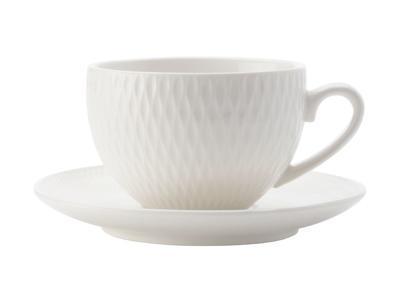 Šálek a podšálek espresso WHITE BASIC DIAMONDS 90 ml, Maxwell & Williams