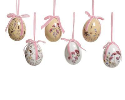 SET 6ks -velikonoční vajíčko KVĚTINA, 6cm, 6 druhů, Kaemingk - 1