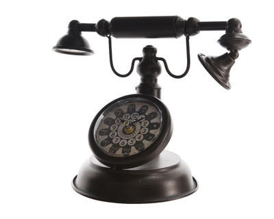 Dekorace RETRO TELEFON, 18x31x24cm, černý, Kaemingk