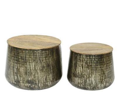 SET dekorativních přídavných stolků, cca 51x40cm, cca 40x35cm, antik stříbrná, Kaemingk