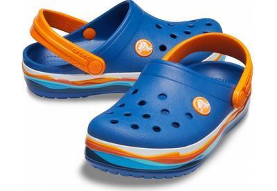 Boty CROCBAND WAVY BAND CLOG KIDS J2 blue jean, Crocs - 1