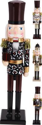 Vánoční dekorace Louskáček ,LEOPARD´ 50cm, 4 assort, Koopman