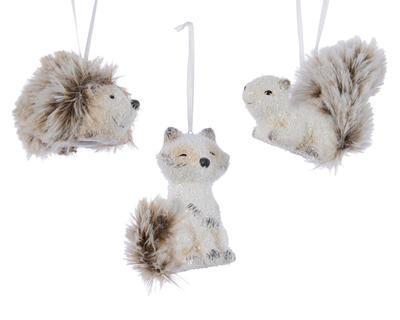 Vánoční ozdoba - Zvířátko s kožešinkou, Kaemingk