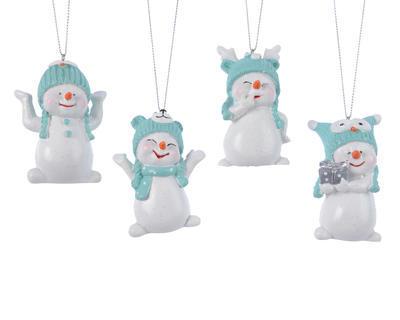 Vánoční ozdoba - Sněhulák s čepicí 7,5 cm, Kaemingk