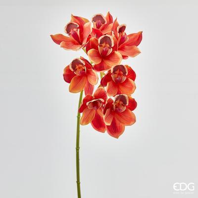 Květina ORCHIDEJ CYMB.CHIC 80 cm - oranžová/červená, EDG