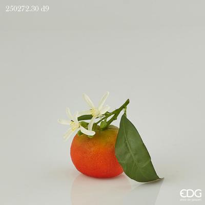 Dekorace MANDARINKA S LISTEM 9 cm - oranžová, EDG