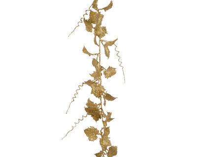 Vánoční girlanda  - Listy s glitry 186 cm - sv. zlatá, Kaemingk
